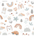 seamless pattern with cute animals faces and vector image