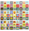 set icons in flat design desserts vector image vector image