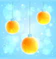 set of 3 orange christmas balls vector image vector image