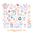 set of colored easter doodles on white background vector image vector image