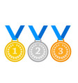 set of gold medal silver and bronze medals icons vector image vector image