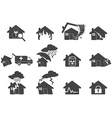 set of house disaster icon vector image vector image