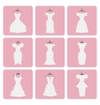 silhouette little wedding dressesflat icons vector image