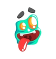 Silly Blue Emoji Cartoon Square Funny Emotional vector image vector image