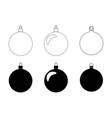 simple bauble silhouette set for christmas tree vector image vector image