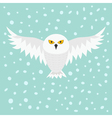 Snowy white owl Flying bird with big wings Yellow vector image vector image