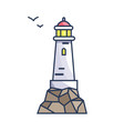 tall beacon with light on rock and small birds vector image vector image
