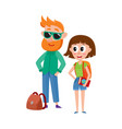 tourists man in sunglasses and woman with vector image vector image