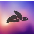 turtle icon on blurred background vector image vector image