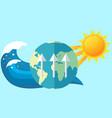 visualization global warming sun heats earth vector image
