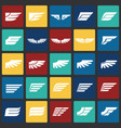 wings icons set on color squares background for vector image vector image