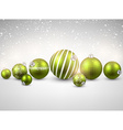 Winter background with green christmas balls vector image vector image