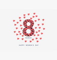 womens day background with hearts vector image vector image
