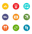 world of travel icons set flat style vector image