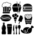 set black fast food objects vector image