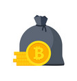 bitcoin bag with money stacks of coins vector image