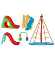 a set of playground slide and equipment vector image