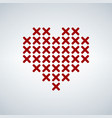 abstract heart made of red crosses stitch heart vector image