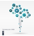 Abstract technology background Growth flower vector image vector image