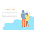 back view embracing couple in wintertime vector image