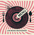 banner for restaurant menu with live music vector image vector image