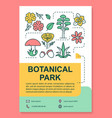 botanical park poster template layout flowers vector image vector image