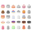 cake and dessert cartoonmonochrom icons in set vector image vector image