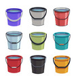 cartoon buckets water pails metal and plastic vector image