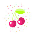 cartoon red cherry icon bordo cartoon vector image
