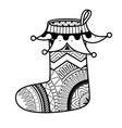 coloring book page christmas sock vector image