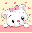 cute cartoon kitten with hearts vector image vector image
