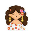 cute woman with earrings and flowers in hair vector image