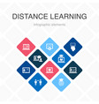 distance learning infographic 10 option color vector image vector image