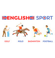 english sport golf and polo badminton and football vector image vector image