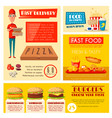 fast food restaurant banner with meal and drink vector image