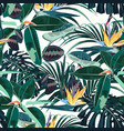 ficus palm leaves and yellow strelitzia pattern vector image vector image