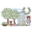 fox fairy tale cartoon clipart vector image