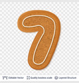 gingerbread number seven symbol with drop shadow vector image vector image