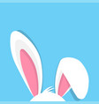 happy easter with bunny ears on blue background vector image vector image