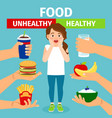 healthy and unhealthy food choice vector image
