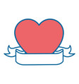 heart with decorative ribbon icon vector image vector image