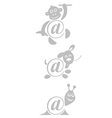 international sign email animals stamp vector image