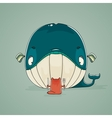 Little cat sitting down to dine on a huge whale vector image