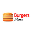logotype for cafe with burgers and other lunch vector image vector image