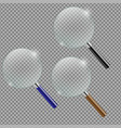 magnifying glass set transparent background vector image
