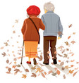 old couple in love walking in autumn decor vector image vector image