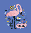pink flamingo flat hand drawn poster vector image