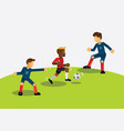 red team soccer player dribbling during match game vector image