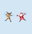 santa and reindeer making snow angels celebrating vector image