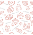 Seamless pattern of sweet cupcakes and cakes on a vector image vector image